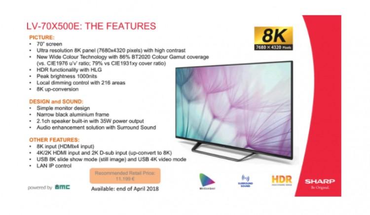 Sharp выпускает 70-дюймовый телевизор с панелью 8K: LV